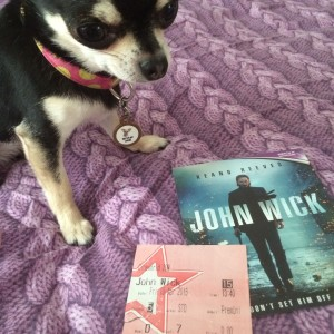 Pepper the Chihuahua and our John Wick Cinema ticket