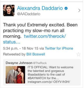 Alexandra Daddario tweet screen shot