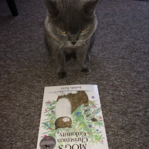 Hooch the cat reading Mog the Cat book