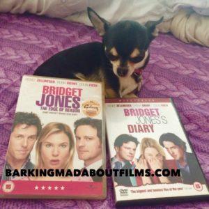 Chihuahua with Bridget Jones DVD's