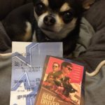 Chihuahua with Baby Driver cinema ticket