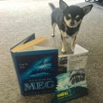 Chihuahua with Cinema t icket to see The Meg and the book it is based on